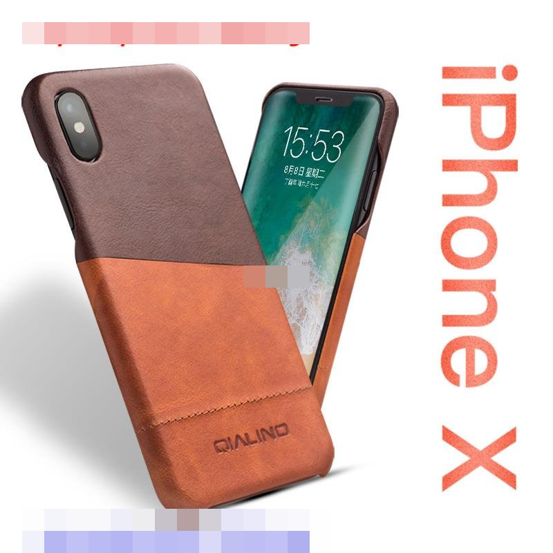 Qialino Apple iPhone X Cow Leather Back Armor Case Cover Casing
