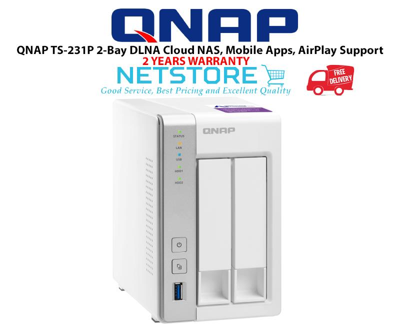 QNAP TS-231P 2-Bay DLNA Cloud NAS, Mobile Apps, AirPlay Support