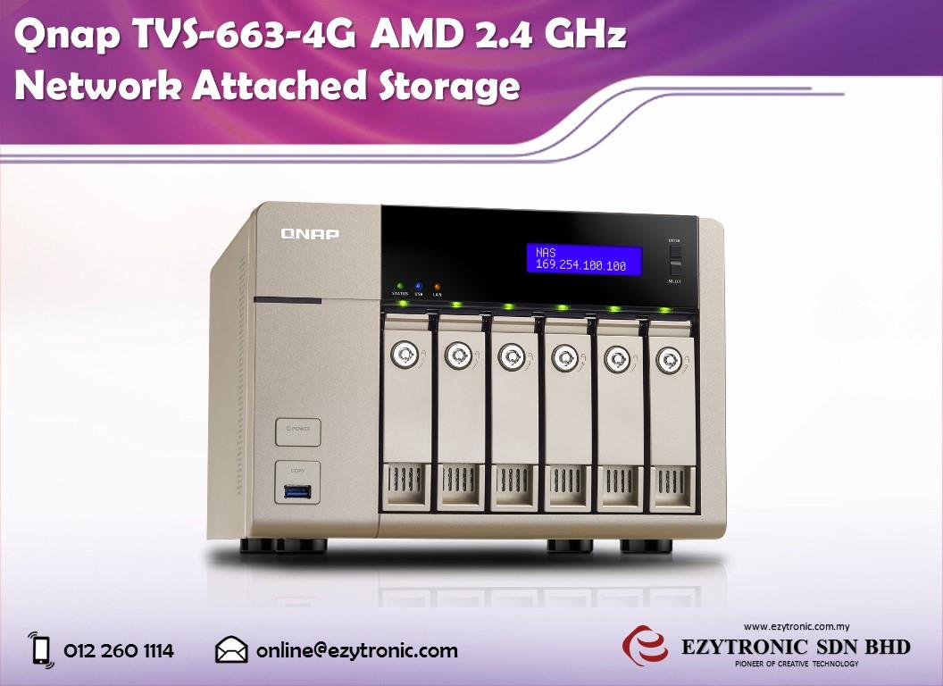Qnap TVS-663-4G AMD 2.4 GHz Network Attached Storage