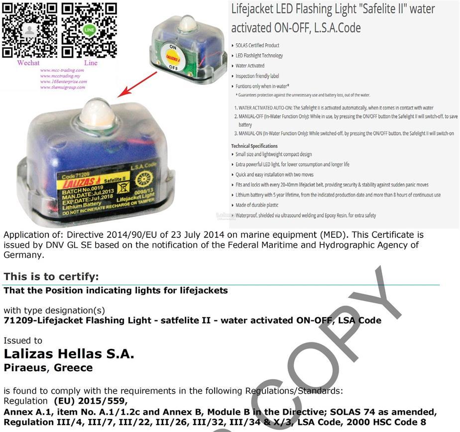 Best Quality Competative Price Lalizas lifejacket light(Dealer wanted)