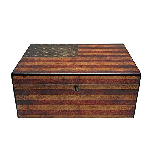 .Quality Importers Trading Old Glory Humidor Weathered American Flag Glass Hyg