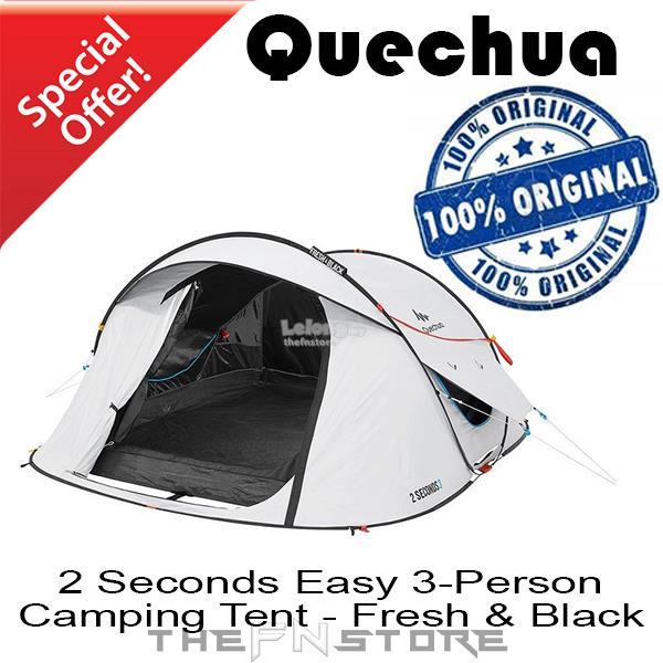 newest f0085 fe1cb QUECHUA 2 Seconds EASY 3 Person Camping Tent - Fresh & Black