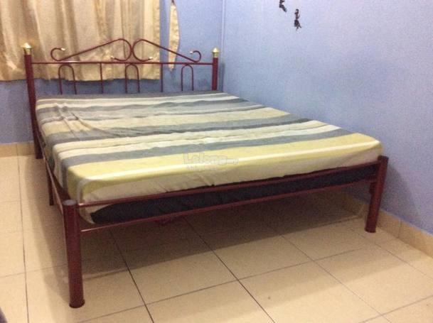 Used Queen Size Metal Bed Frame Maroon With Free Mattress