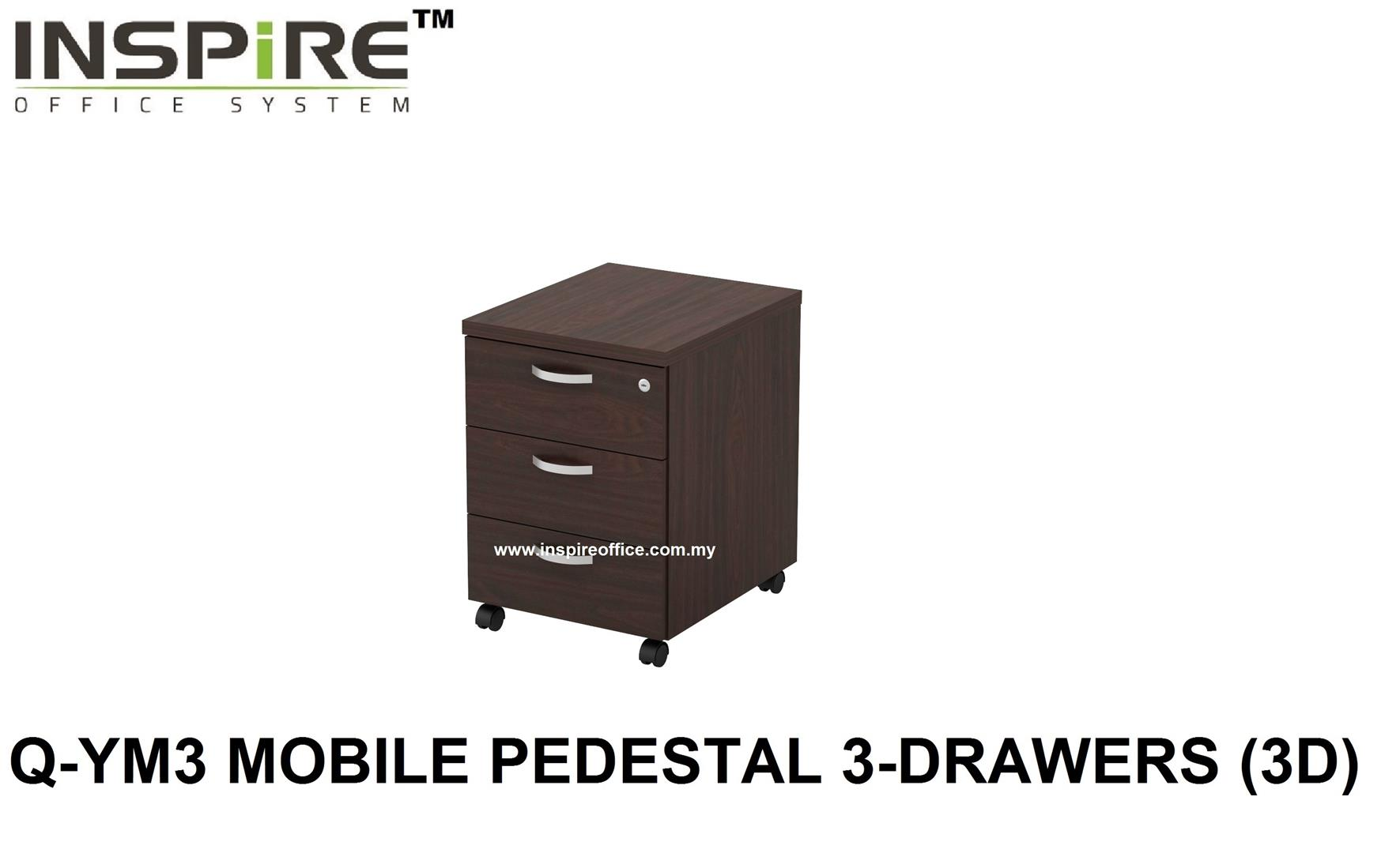 QUINN SERIES Q-YM3 MOBILE PEDESTAL 3-DRAWERS (3D)