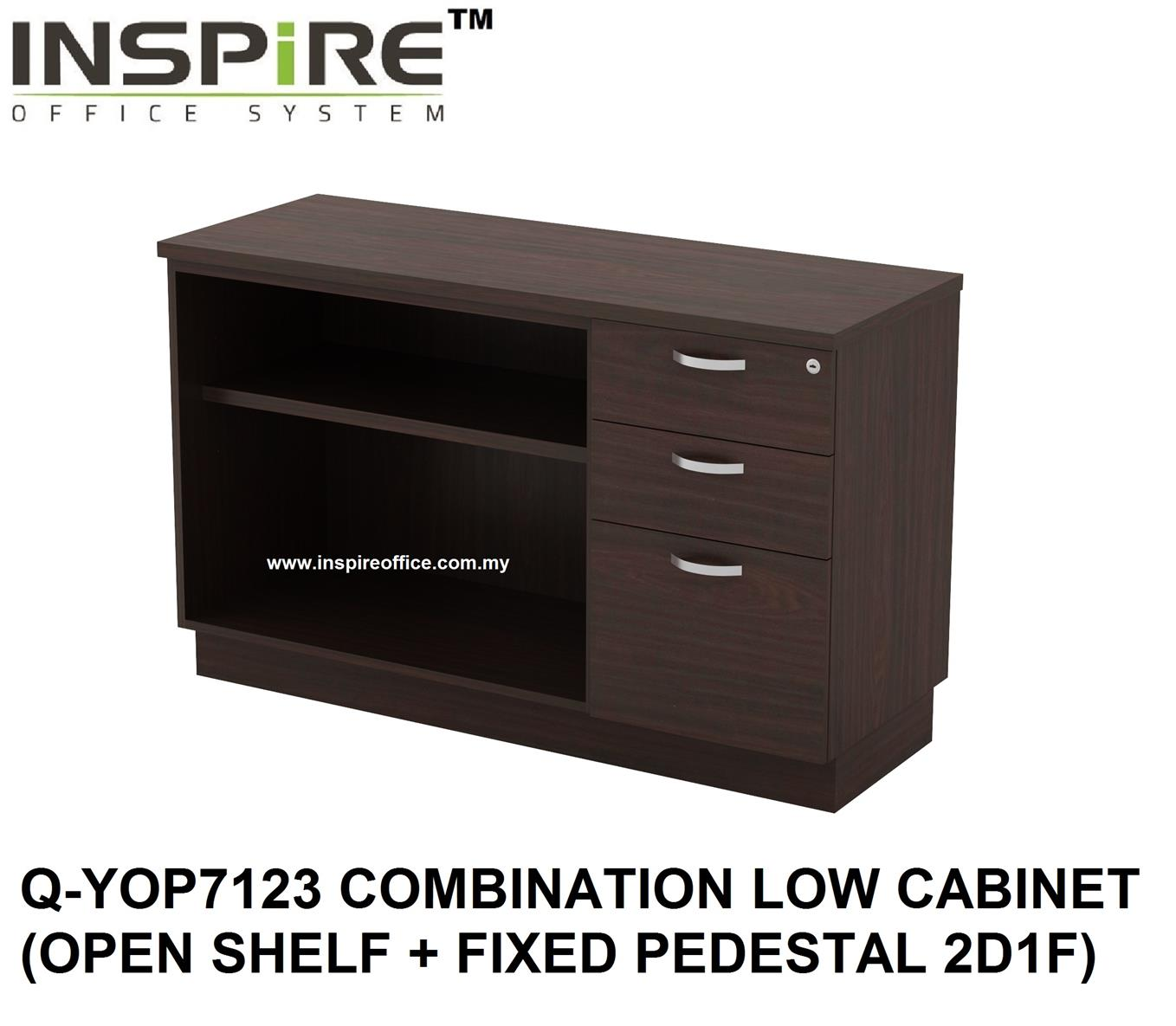 QUINN SERIES Q-YOP7123 COMBINATION LOW CABINET (OPEN SHELF + FIXED PED