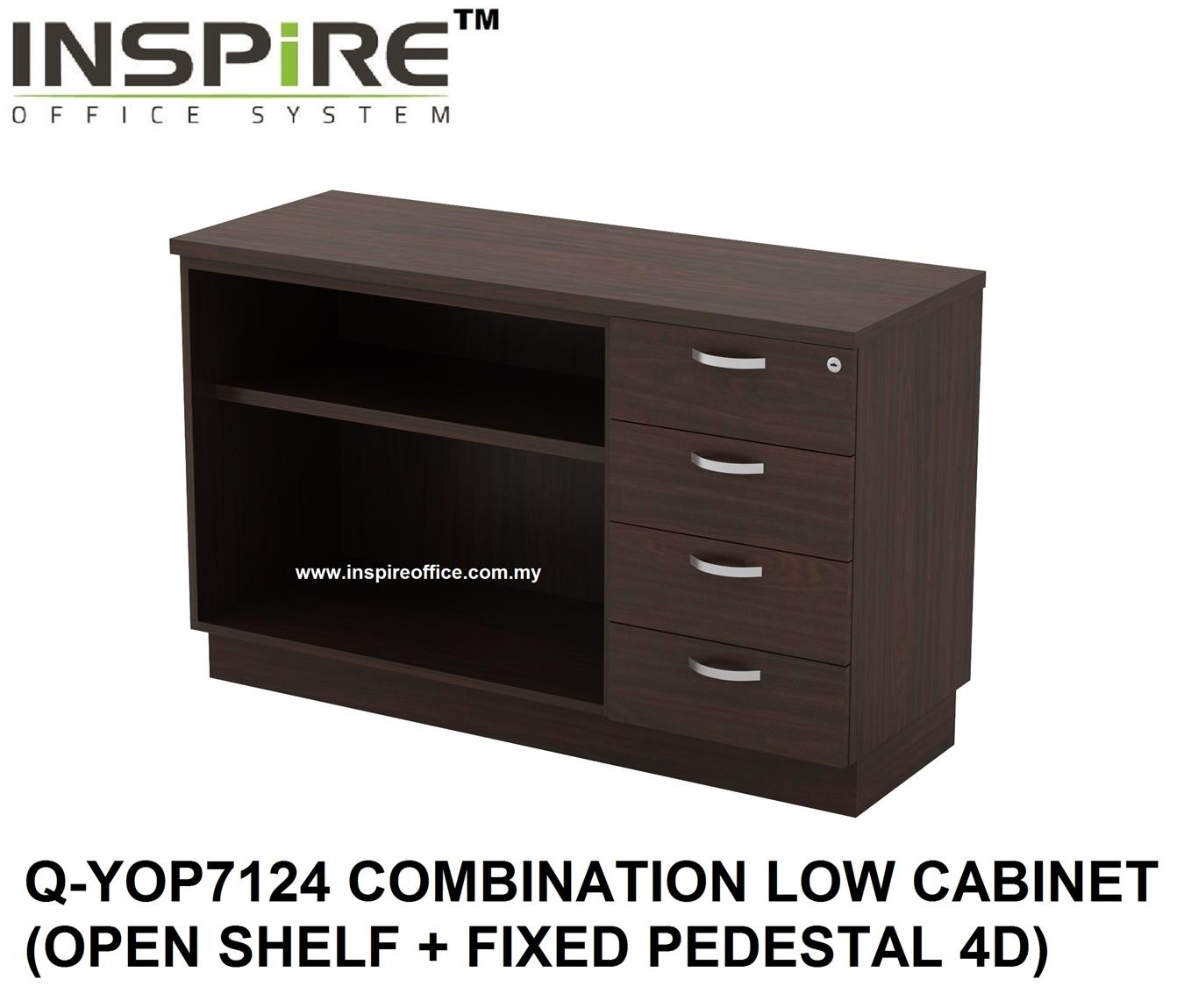 QUINN SERIES Q-YOP7124 COMBINATION LOW CABINET (OPEN SHELF + FIXED PED
