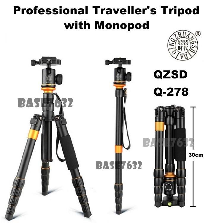 QZSD Q-278 Q278 Camera DSLR Pro Traveller Tripod Monopod 30mm 2125.1