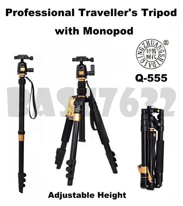 QZSD  Q-555 Q555 Camera DSLR Traveller's Tripod with Monopod