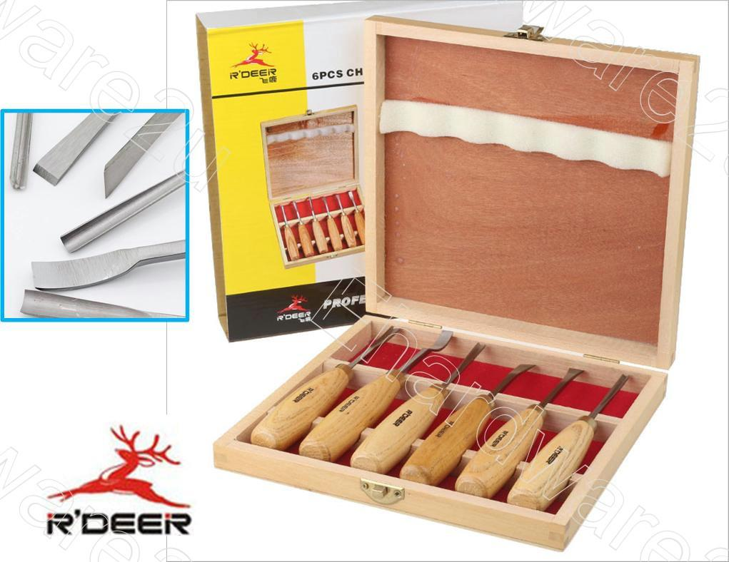 R'Deer 6Pcs Wood Carving Chisels Tool Set With Wooden Case (RT-M106)