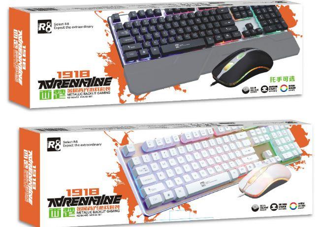 11a030212d7 R8 metallic gaming keyboard and mouse combo rainbow blacklight 1918