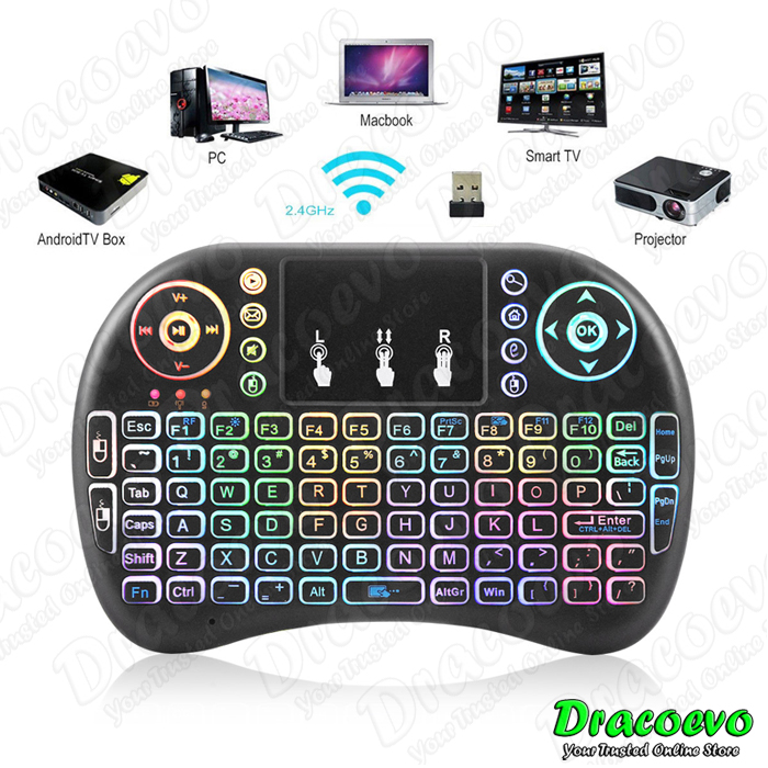 Rainbow i8 2.4G Fly Air Mouse Wireless Keyboard Touchpad Smart TV Box