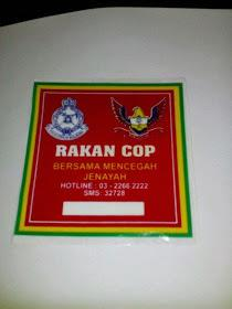Rakan Cop RED Windscreen Sticker
