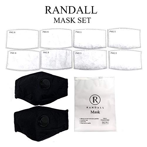 ..// RANDALL- 2 Masks 8 Filters Reusable Cotton Dust Mask. PM2.5 Carbon Activa