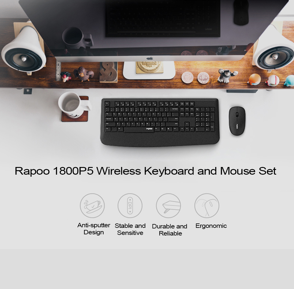 RAPOO 1800P5 WIRELESS KEYBOARD AND MOUSE SET