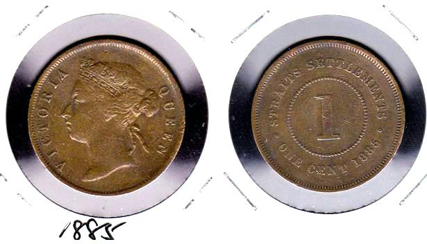 Rare 1885 Straits Settlements ' Queen Victoria ' 1 cent Copper coin XF