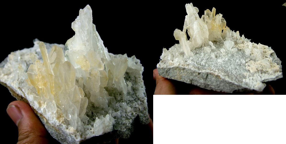 Rarest Faden Quartz cluster on matrix spray on hard rock - 330g - CQ14