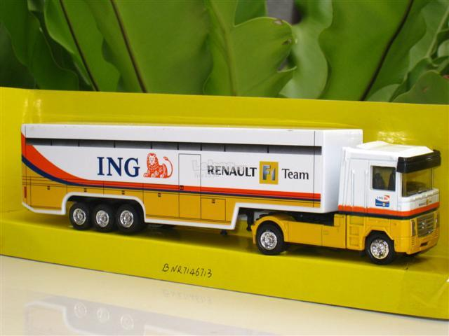 Team Ray Trucks >> New Ray 1 87 Renault F1 Team Ing Tractor Trailer Truck Transport