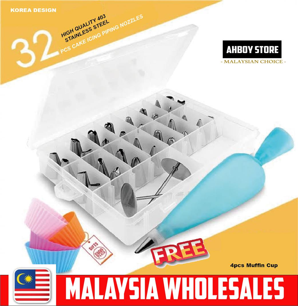 RAYA SALES 32pcs Cake Muffin Decoration Set Of Stainless Steel Icing P