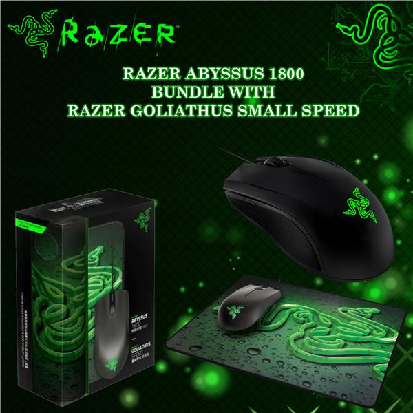466ba010353 RAZER ABYSSUS 1800 GAMING MOUSE + GOLIATHUS SPEED MOUSE PAD BUNDLE. ‹ ›