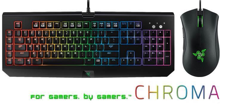 Razer Blackwidow Chroma Keyboard + Razer Deathadder Chroma mouse combo