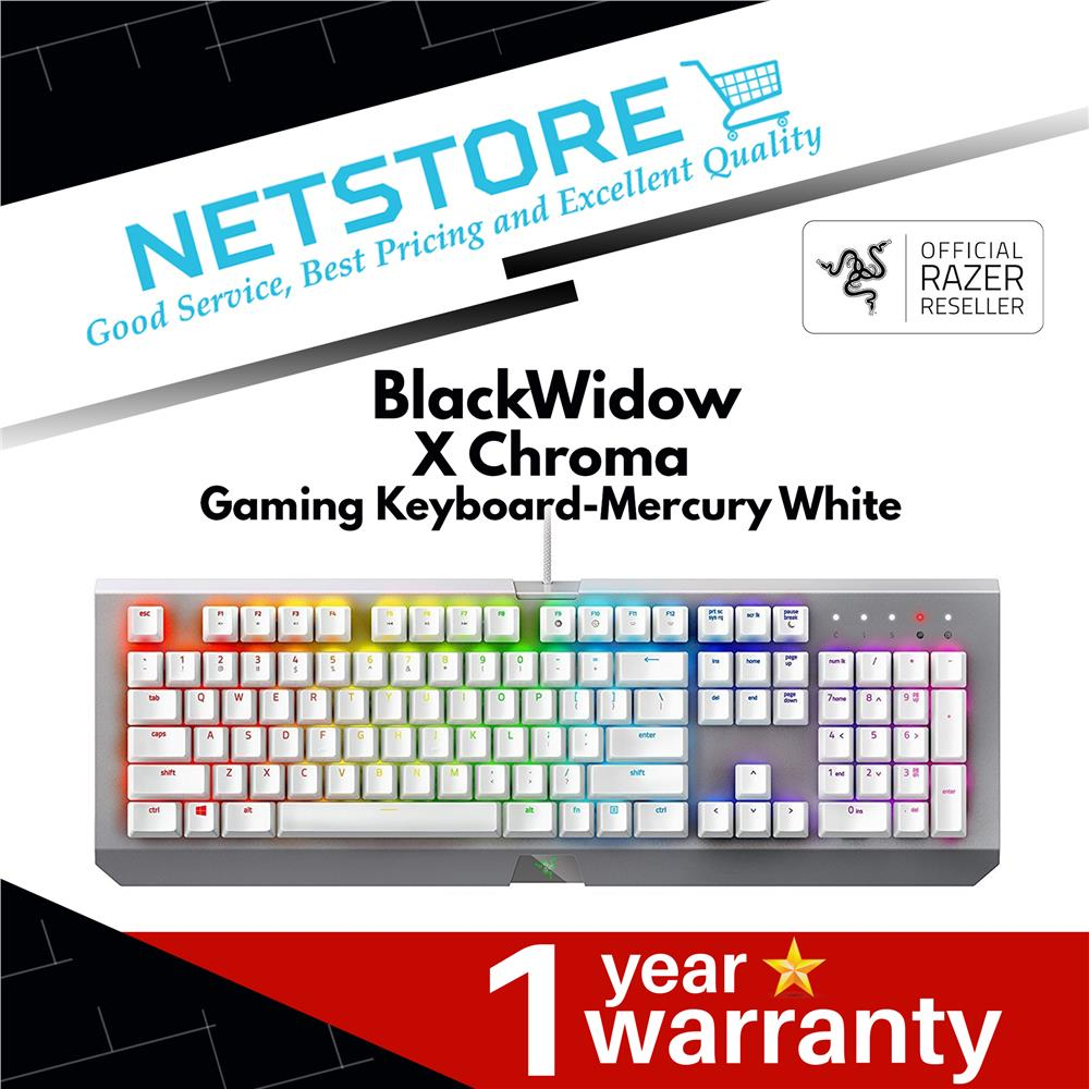 Razer BlackWidow X Chroma Gaming Keyboard - Mercury White