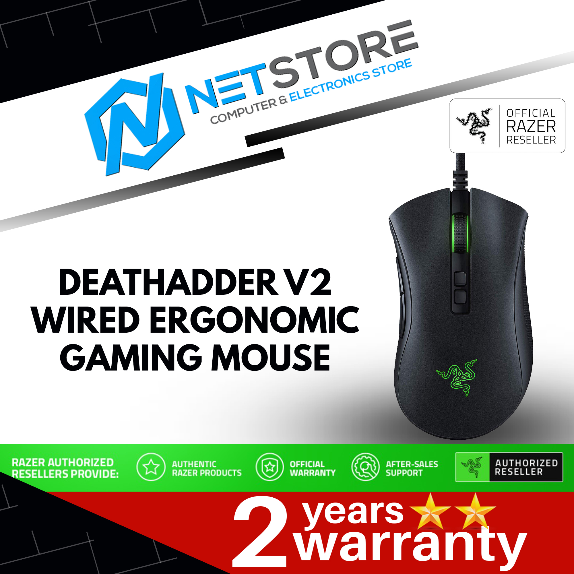 Razer Deathadder V2 Wired Ergonomic Gaming Mouse RZ01-03210100-R3M1