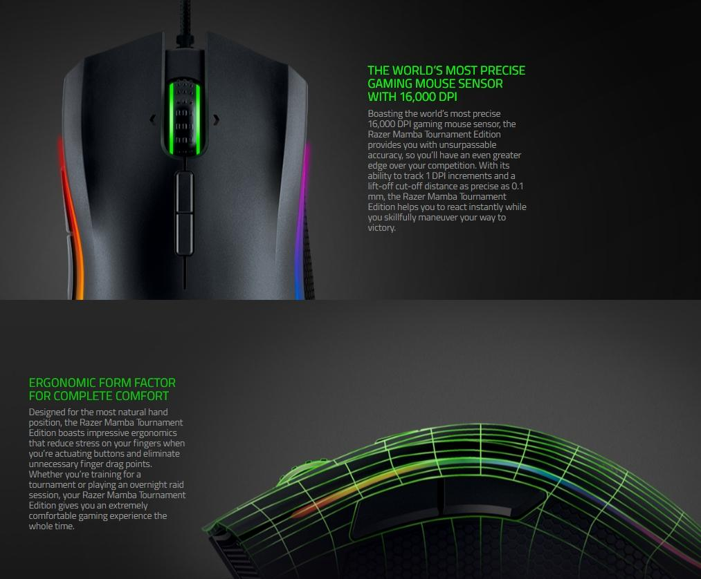 RAZER MAMBA TOURNAMENT EDITION WIRED GAMING MOUSE (RZ01-01370100-R3A1)