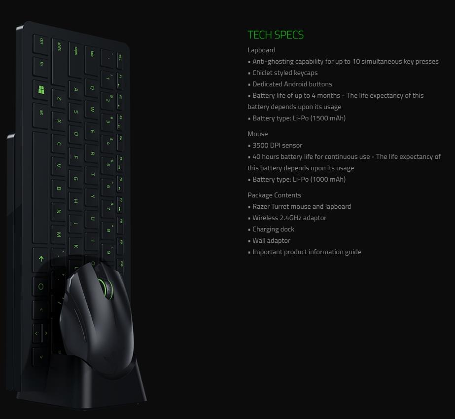 RAZER TURRET LIVING ROOM GAMING MOUSE AND LAPBOARD RZ84 01330100 B3A1