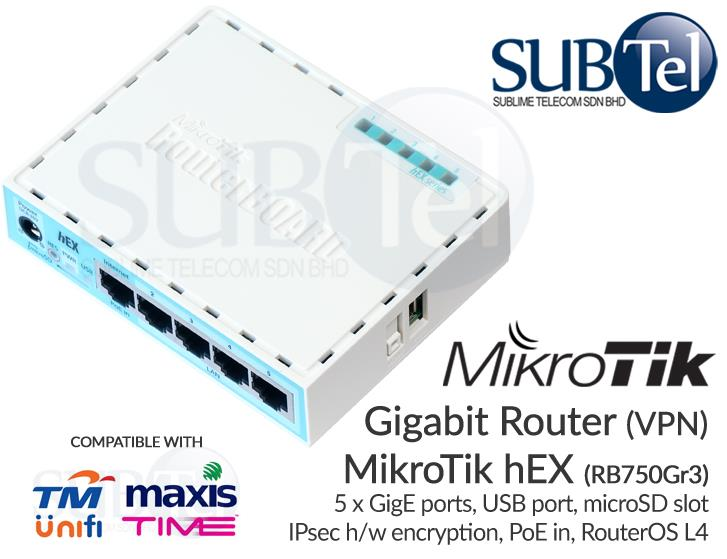 RB750Gr3 Mikrotik hEX Gigabit Router 5 port IPsec VPN