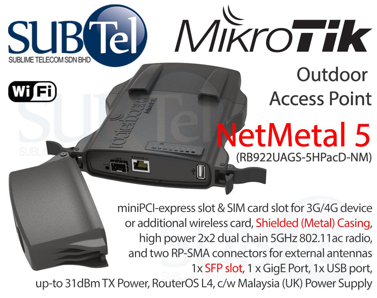 RB922UAGS-5HPacD-NM Mikrotik NetMetal 5 5GHz Outdoor LTE PTP Bridge