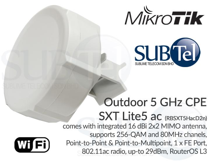 RBSXT5HacD2n Mikrotik SXT Lite5 AC 5GHz Outdoor WiFi Radio Bridge