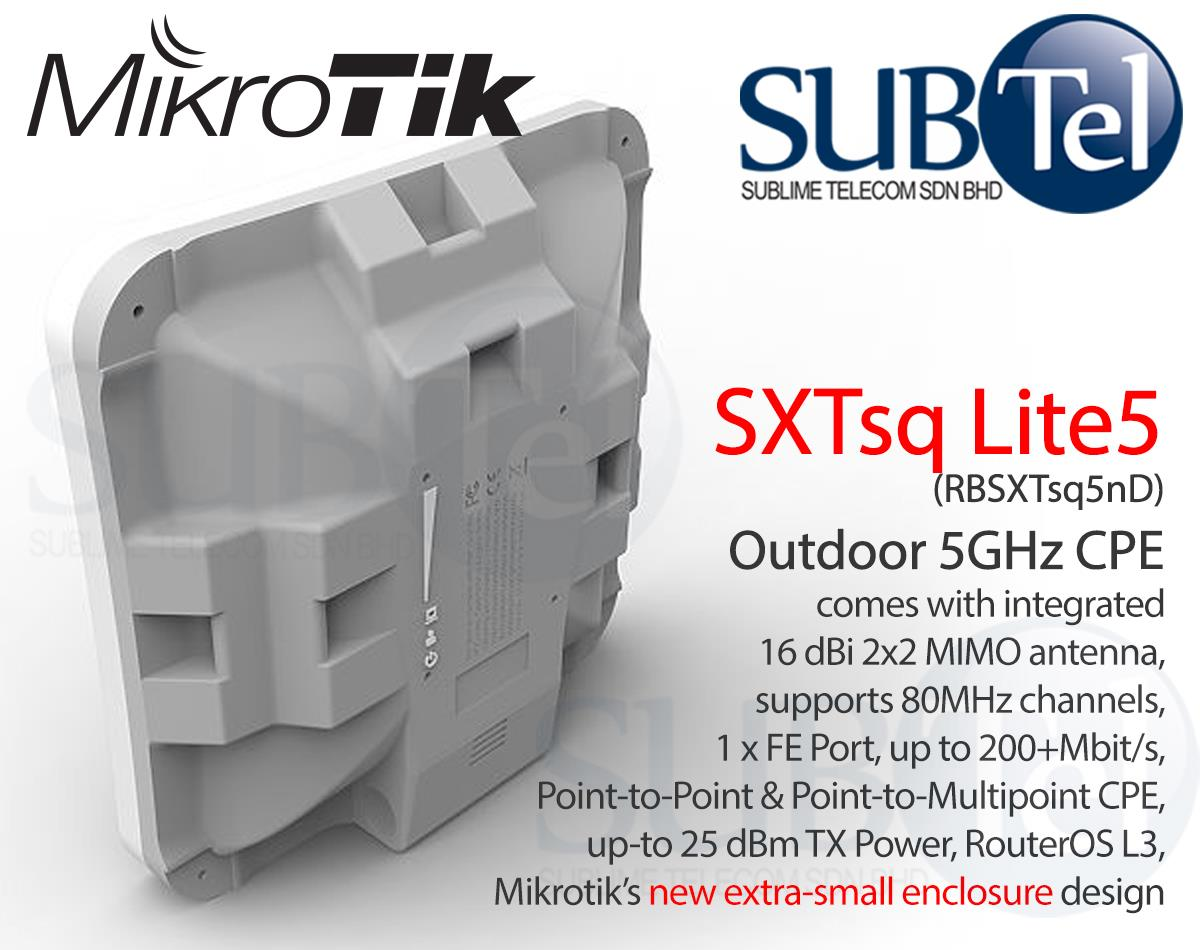 RBSXTsq5nD Mikrotik SXTsq Lite5 5GHz Outdoor WiFi CPE Bridge