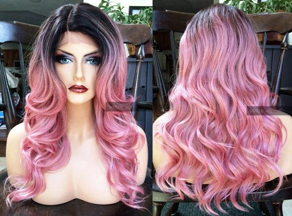 Read stock Front lace wig pink black root wavy wig