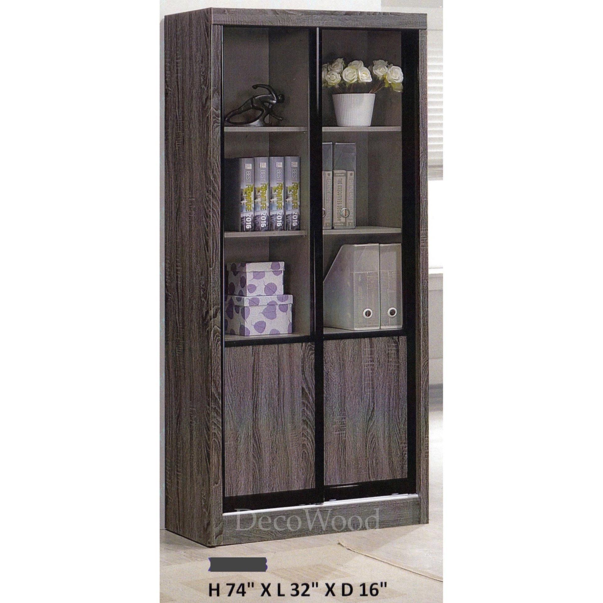 Ready Fixed 2 Half Feet Sliding Gl Door Book Case Shelf