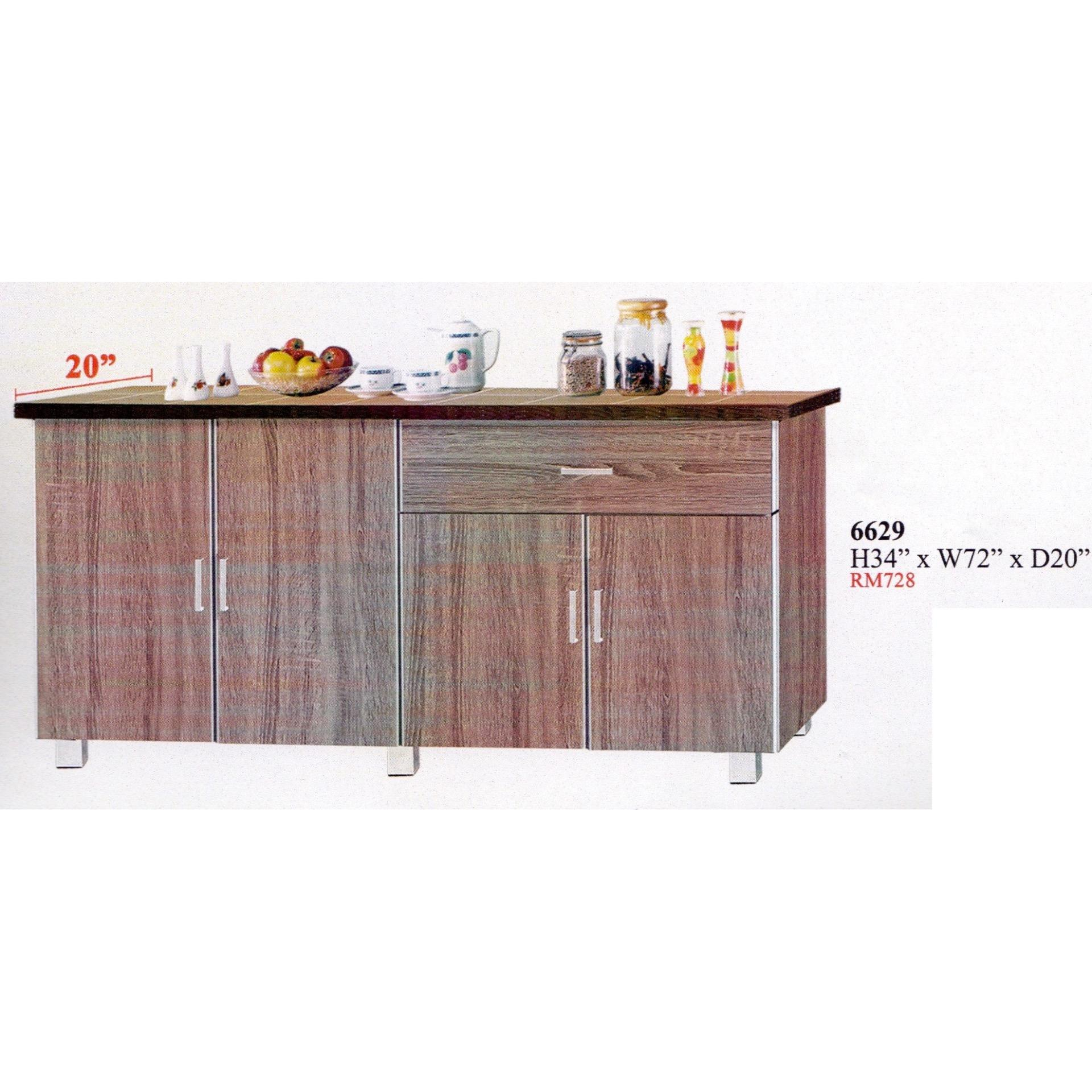 Ready Fixed 6 Feet Kitchen Cabinet With Mosaic Top 6629