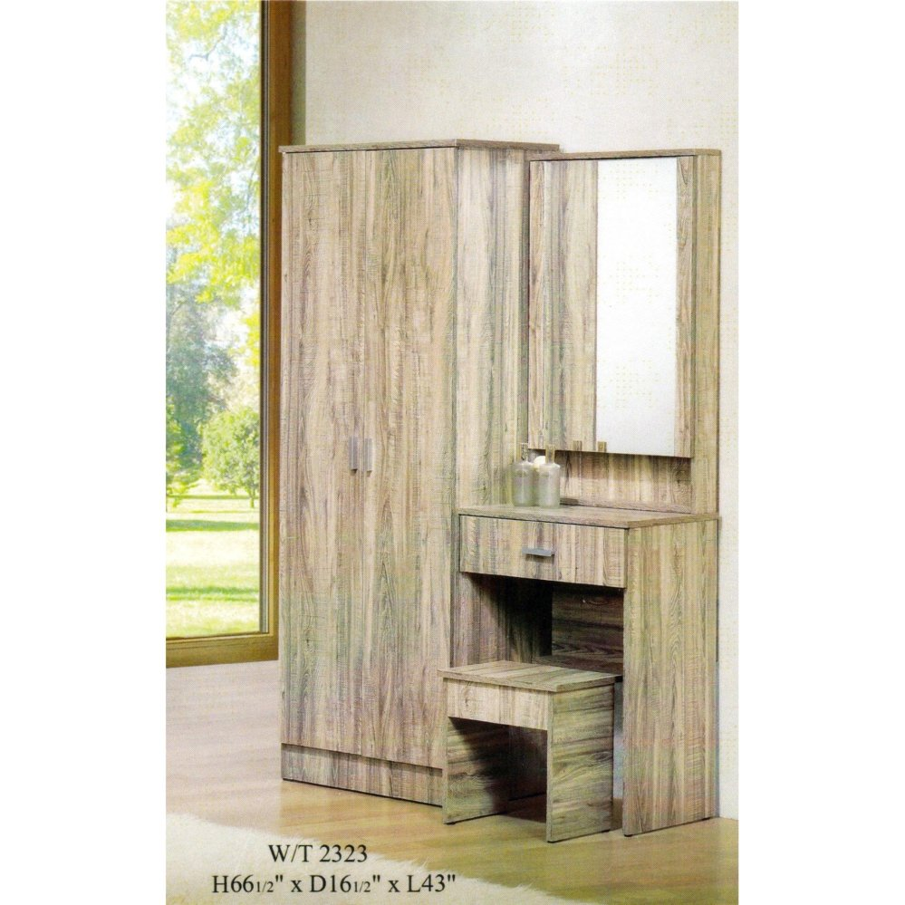 huge selection of 4b1e9 f6099 Ready-Fixed Solid 2 Door Wardrobe + Dressing Table 2 in 1 W/T2323