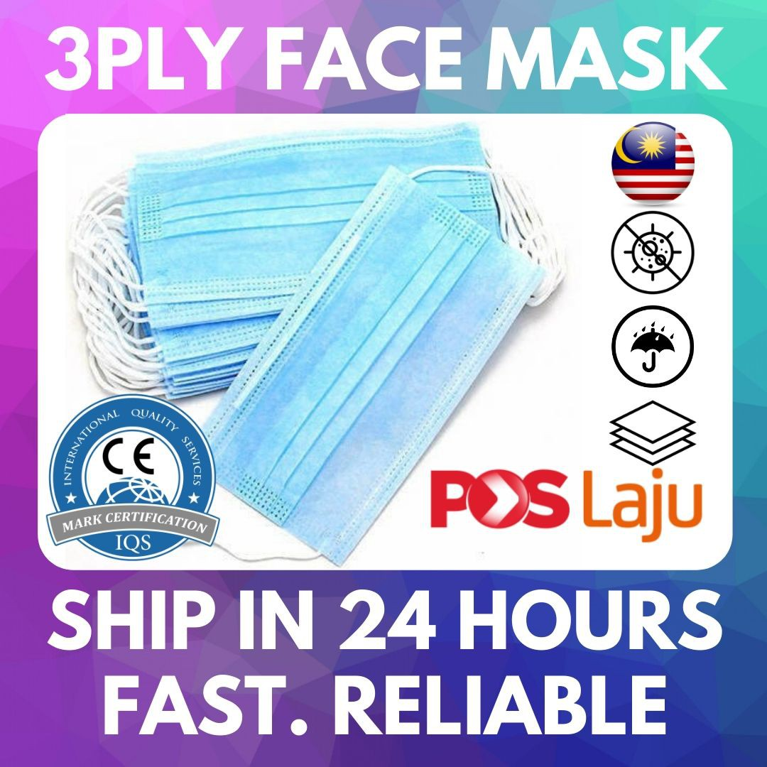 READY STOCK 100 pcs per pack Face Mask 3 layers 3ply Lapisan High Quality High
