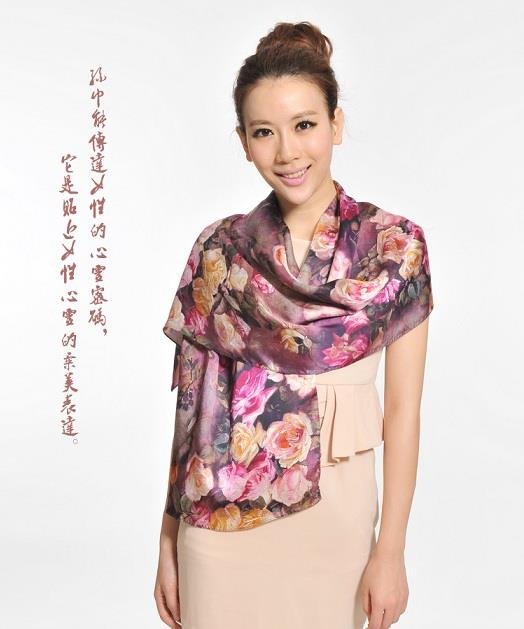 Ready Stock 100% Pure Silk Scarf ~ Floral