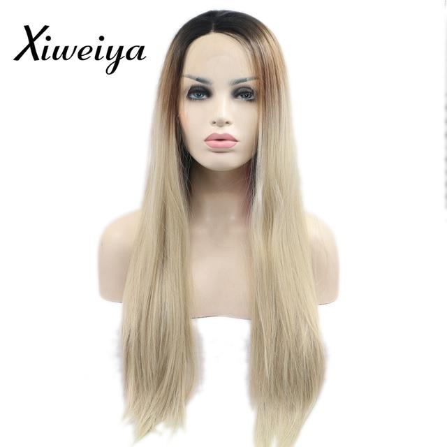 READY STOCK 28inches front lace wig straight 4t blonde
