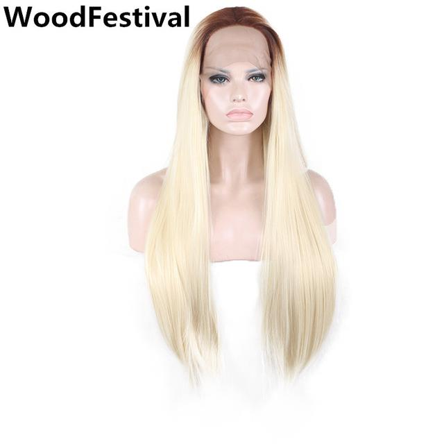 READY STOCK 28inches front lace wig straight brown blonde