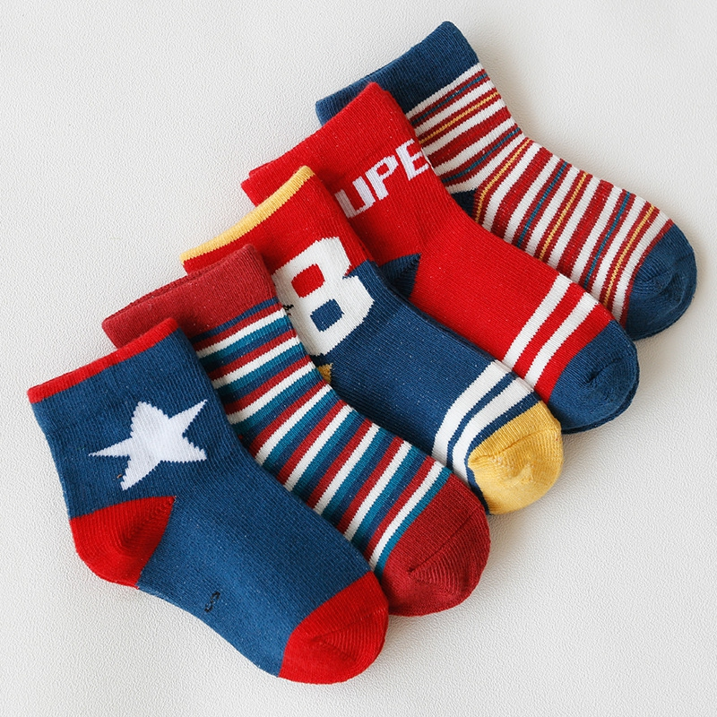 (Ready Stock)5 Pairs Baby Boy Girl Cotton Socks Toddler Kids Soft Socks Size S