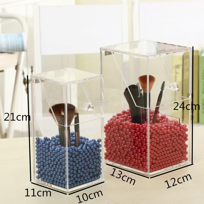 brush holder beads. [ready stock] acrylic makeup brush holder storage box- without beads r