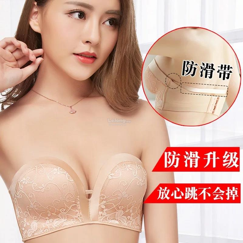 a9b4ad3a11 Ready Stock Anti-Drop No Wire Invisible Strapless Lace Push Up Bra