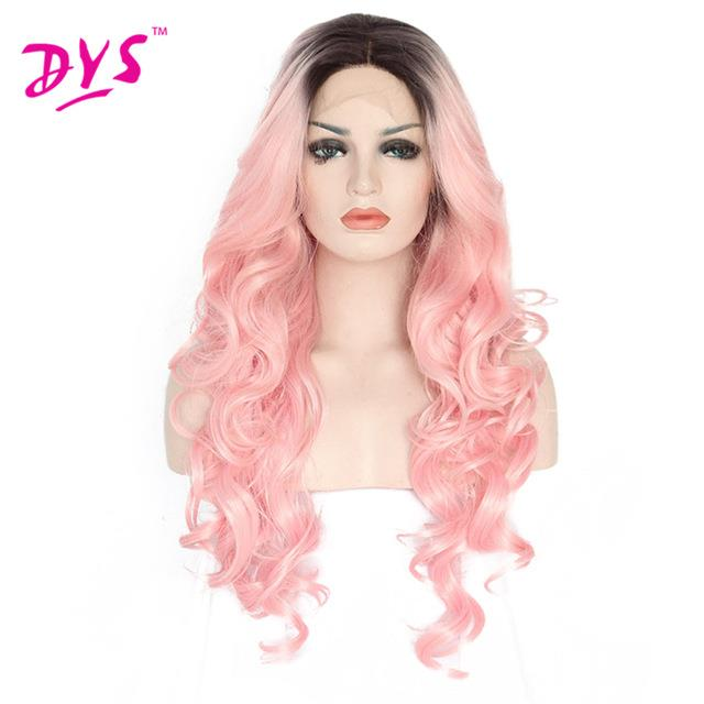 READY STOCK front lace wig 25 inches wavy light pink black root wig