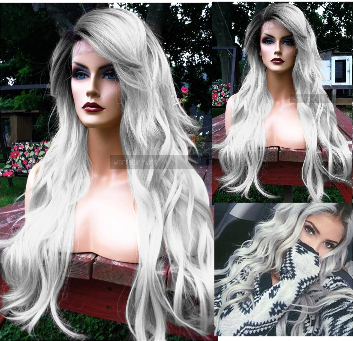 Ready stock Front lace wig black root white wavy