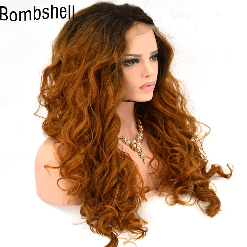 Ready stock Front lace wig curl honey brown wig