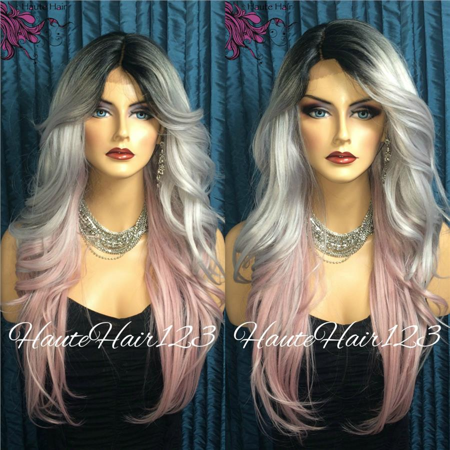 READY STOCK FRONT LACE WIG PLATINUM BLACK PINK 3 COLOR