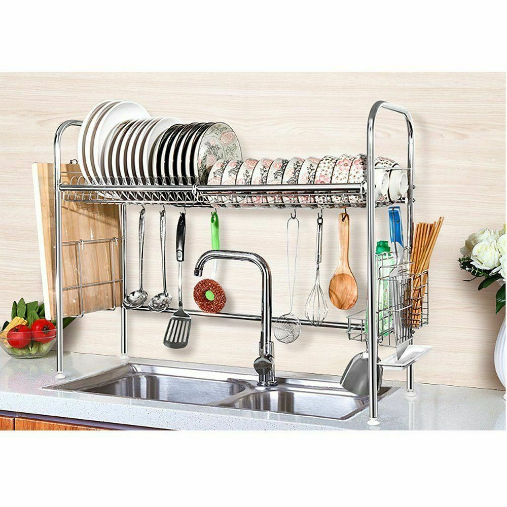 Ready Stock Kitchen Tool Sink Dish Drying Rack Stainless Steel Dish