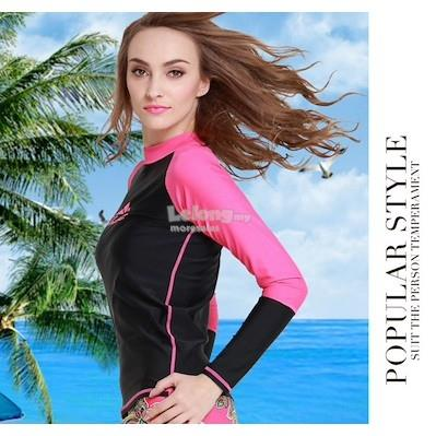 Ready stock ! Korean Style long sleeve swimming top 953 (Size L)