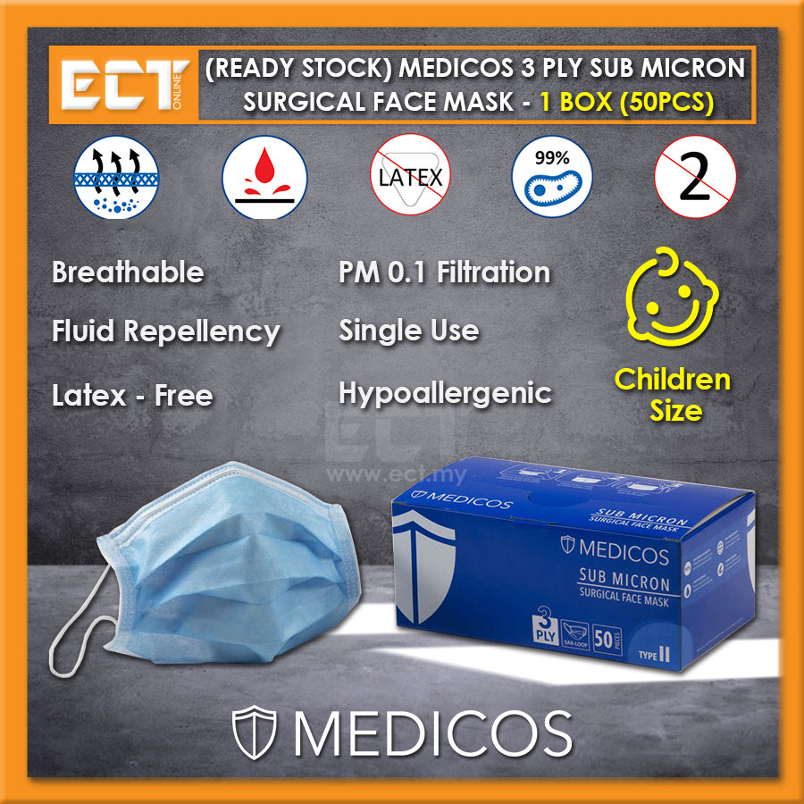 (Ready Stock) Medicos 3 Ply Sub Micron Surgical Ear Loop Face Mask